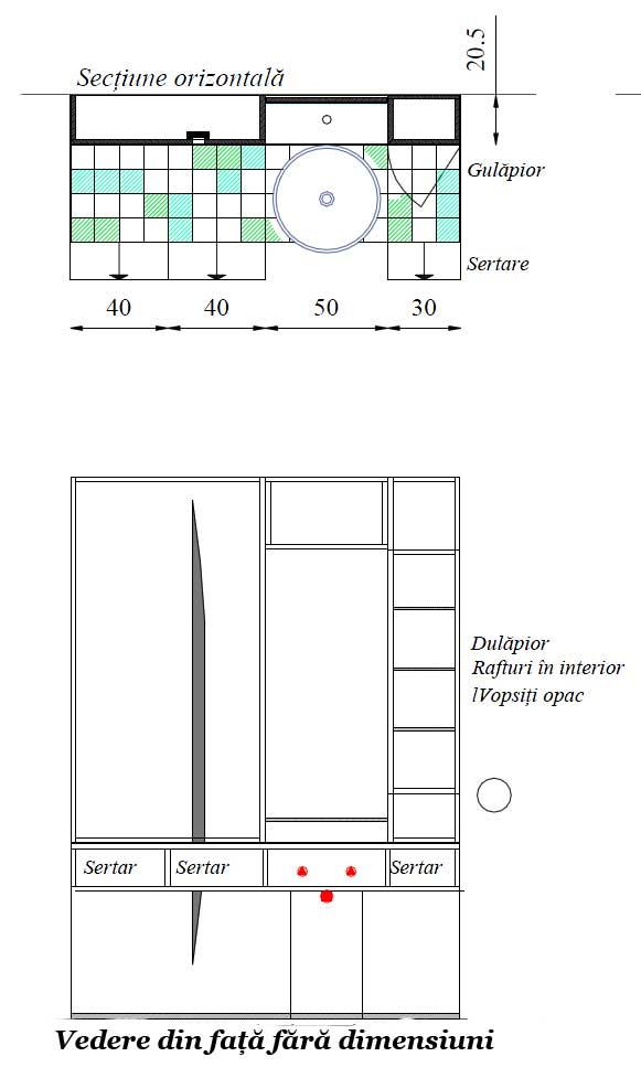 Mobilier baie din lemn MBE1D,Mobilier baie